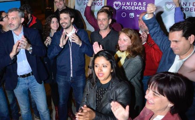 La alegría de Podemos en su sede murciana