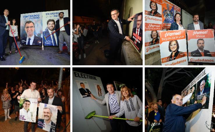 La campaña electoral arranca en la Región con la pegada de carteles