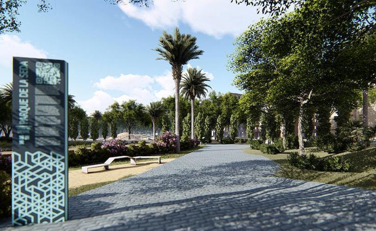 La reforma del jardín de la Seda incluirá un graderío para dar realce a la chimenea
