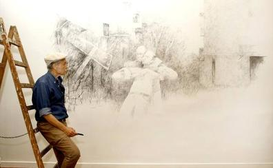 Pedro Cano concluye en Verónicas la creación en vivo de su mural efímero