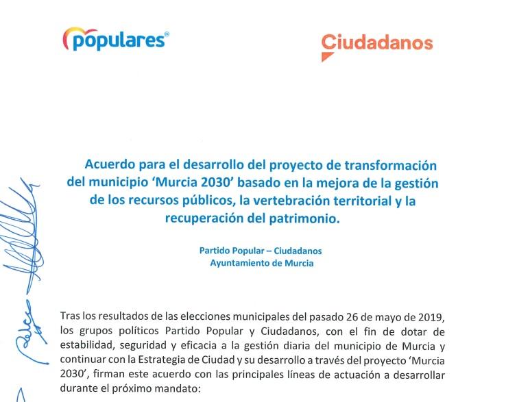 Acuerdo programático entre Partido Popular y Ciudadanos para Murcia