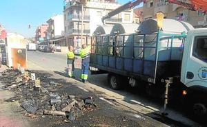 Incendian doce contenedores en El Alamillo, Bolnuevo y Camposol