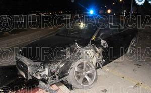 Estrella su coche en Sangonera y da positivo en alcohol y cocaína