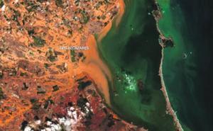 El golpe a la zona del Mar Menor a vista de satélite