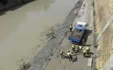Trabajos de limpieza en el río Segura en Murcia