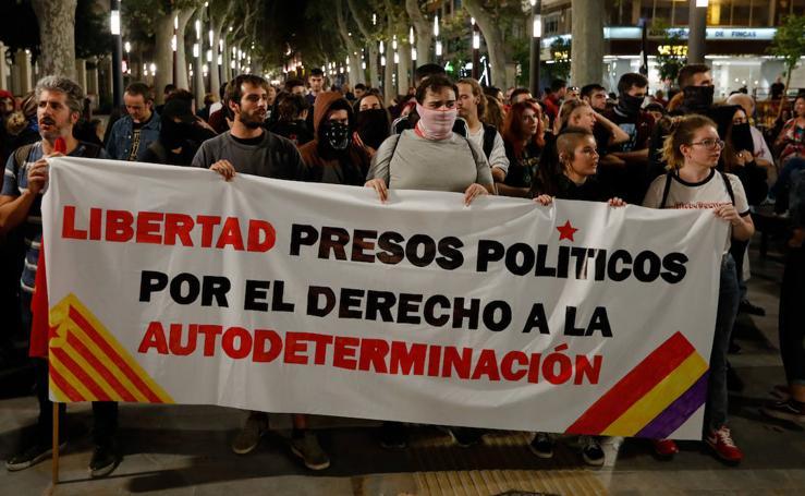 Una manifestación en Murcia a favor de los independentistas acaba con un herido