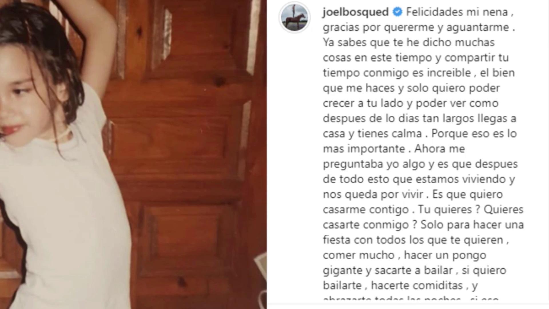 Joel Bosqued pide matrimonio a su novia en Instagram