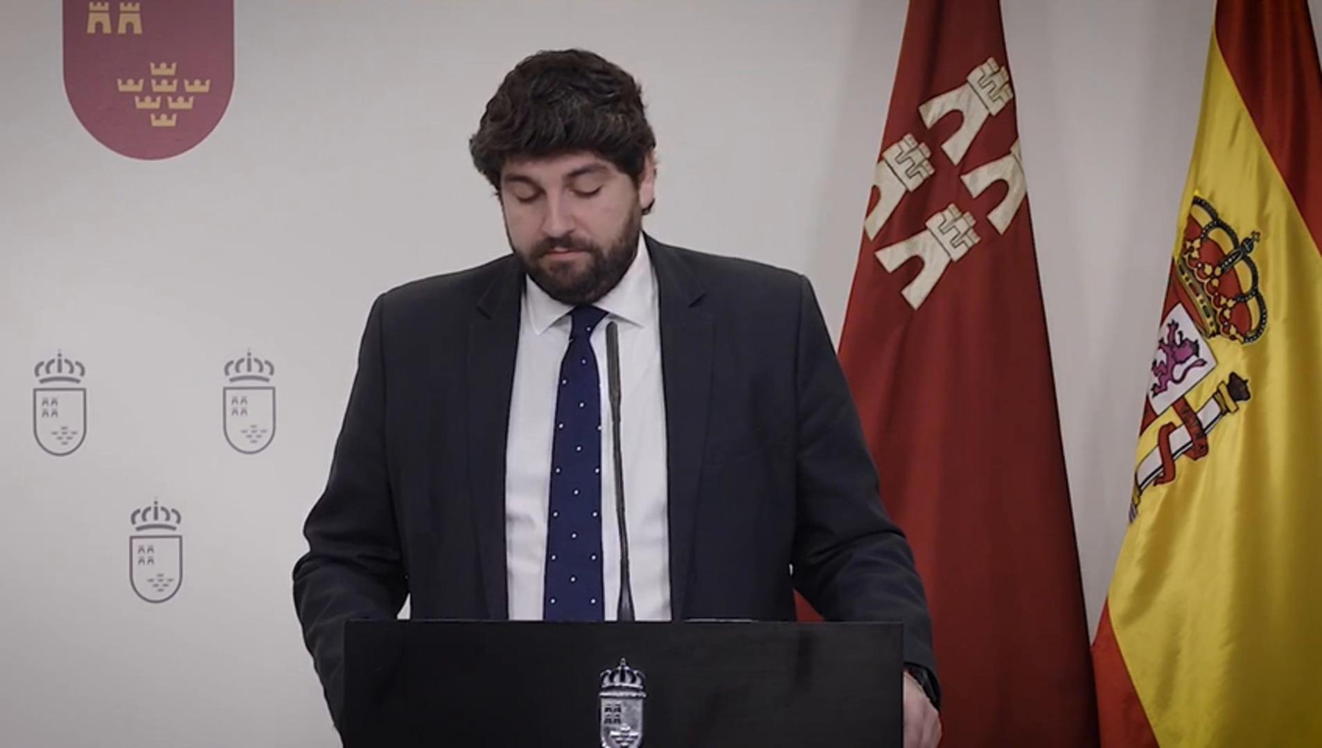 López Miras acusa al Gobierno de Sánchez de querer torpedear los Presupuestos regionales