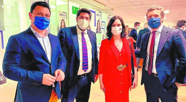 José Miguel Luengo, López Miras, Isabel Díaz Ayuso and Pablo Casado, yesterday, in Madrid.