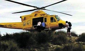 Rescatan en helicóptero a una participante en la marcha Carche-Arabí